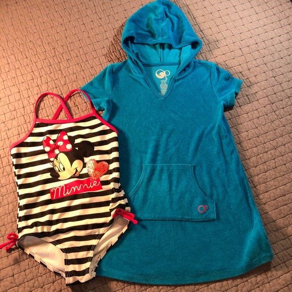 cedc19b85f Disney Other - Girls Minnie Mouse swimsuit   terry cover up